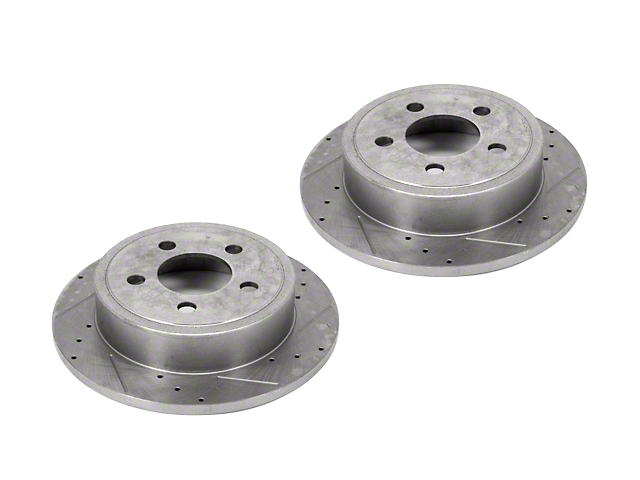 Alloy USA Slotted & Drilled Disc Brake Rotors - Rear Pair (03-06 Jeep Wrangler TJ)