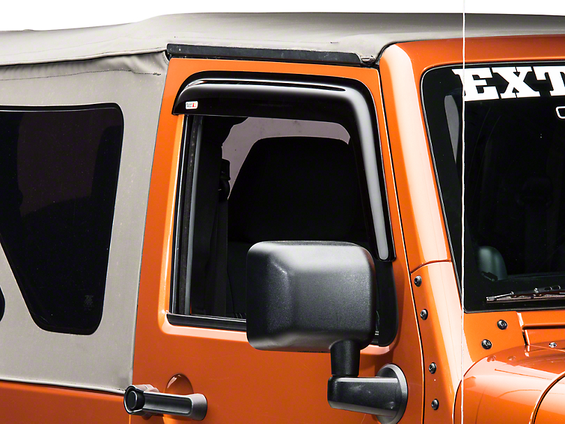 Rugged Ridge Smoked Acrylic Front Window Rain Deflectors (07-18 Wrangler JK 2 Door)