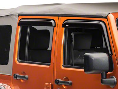 Add Rugged Ridge Smoked Acrylic Window Rain Deflectors (07-17 Wrangler JK 4 Door)