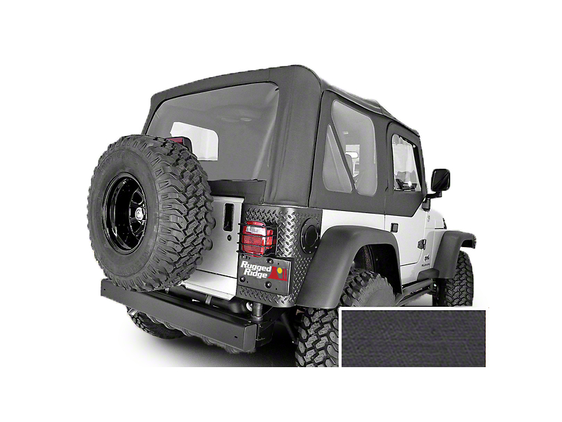 Rugged Ridge Replacement Soft Top with Clear Windows and Door Skins; Black Denim (97-02 Jeep Wrangler TJ)