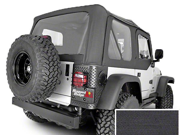 Rugged Ridge Soft Top w/ Clear Windows & Door Skins - Black Denim (97-02 Jeep Wrangler TJ w/ Factory Soft Top)