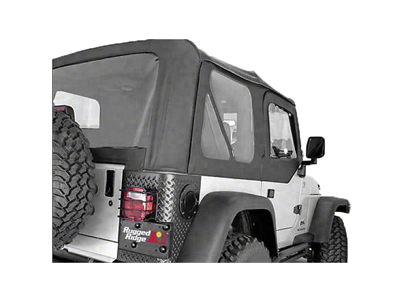 Rugged Ridge Soft Top w/ Clear Windows & No Door Skins - Black Denim (97-02 Jeep Wrangler TJ w/ Factory Soft Top)