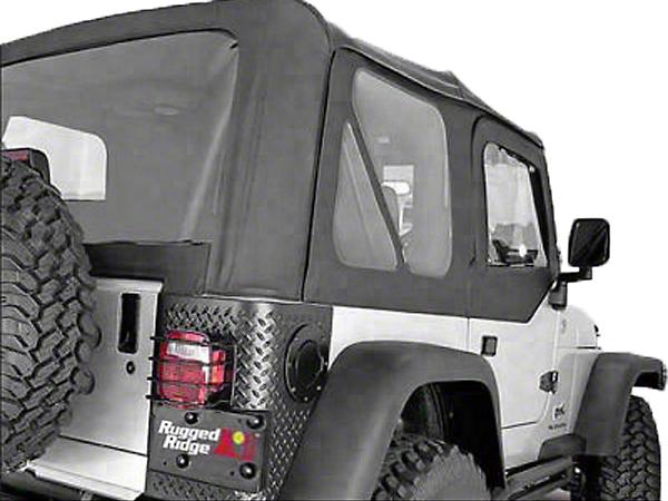 Rugged Ridge Soft Top w/ Clear Windows & No Door Skins - Black Denim (97-02 Jeep Wrangler TJ w/ Factory Soft Top)