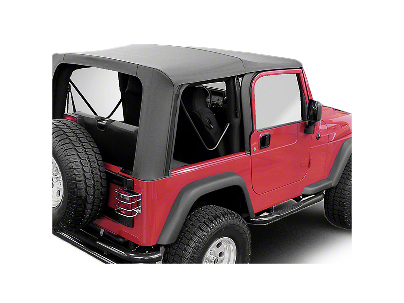 Rugged Ridge Soft Top w/ Clear Windows & No Door Skins - Black Diamond (03-06 Jeep Wrangler TJ w/ Factory Soft Top, Excluding Unlimited)
