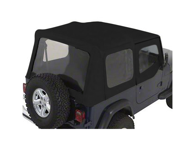 Rugged Ridge Soft Top w/ Tinted Windows & Door Skins - Black Denim (88-95 Jeep Wrangler YJ w/ Factory Soft Top)
