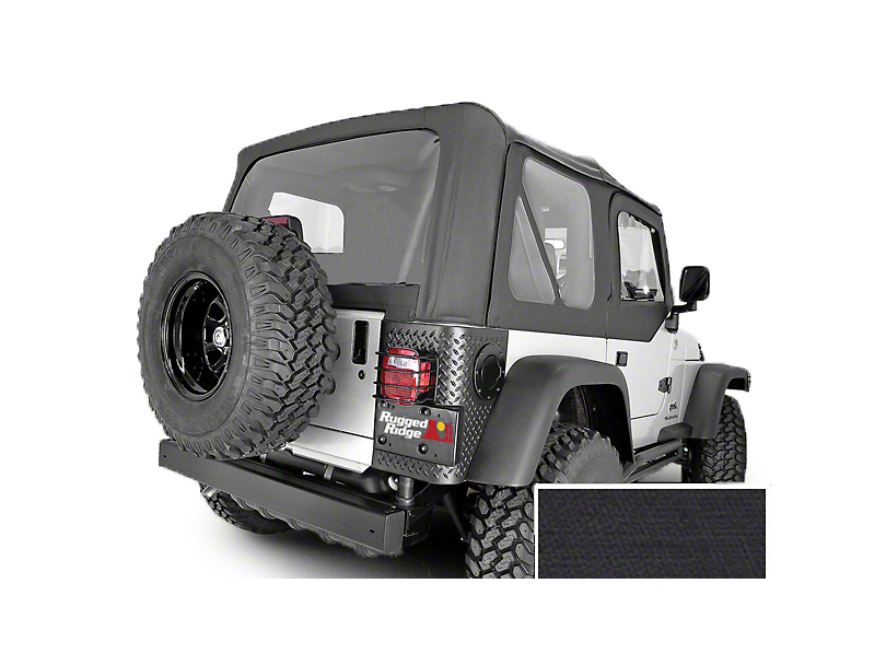 Rugged Ridge Soft Top w/ Tinted Windows & No Door Skins - Black Diamond (03-06 Jeep Wrangler TJ w/ Factory Soft Top, Excluding Unlimited)