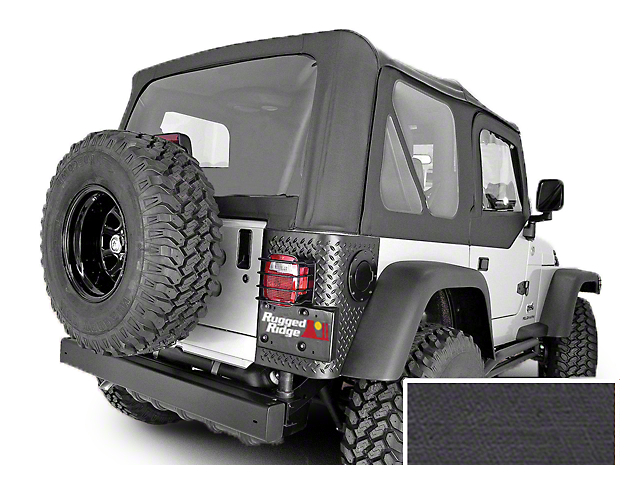Rugged Ridge Soft Top w/ Tinted Windows & No Door Skins - Black Denim (97-02 Jeep Wrangler TJ w/ Factory Soft Top)