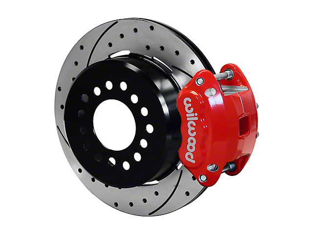 Wilwood D154 Rear Parking Brake Kit with 12.19-Inch Drilled and Slotted Rotors; Red (97-02 Jeep Wrangler TJ)