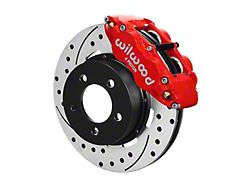 Wilwood Forged Narrow Superlite 4R Front Big Brake Kit with 12.19-Inch Drilled and Slotted Rotors; Red Calipers (87-89 Jeep Wrangler YJ)