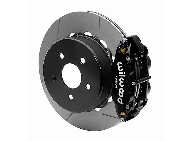 Wilwood Forged Narrow Superlite 4R Rear Big Brake Kit with 14-Inch Slotted Rotors for OE Parking Brake; Black Calipers (18-21 Jeep Wrangler JL)