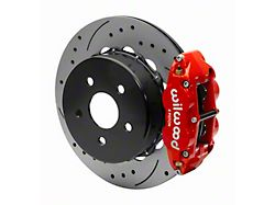 Wilwood Forged Narrow Superlite 4R Rear Big Brake Kit with 14-Inch Drilled and Slotted Rotors for OE Parking Brake; Red Calipers (18-21 Jeep Wrangler JL)