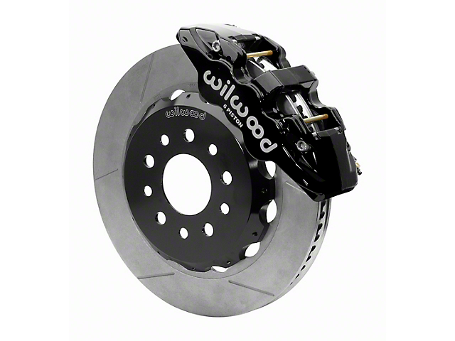 Wilwood AERO6 Front Big Brake Kit with 14-Inch Slotted Rotors; Black Calipers (18-21 Jeep Wrangler JL)