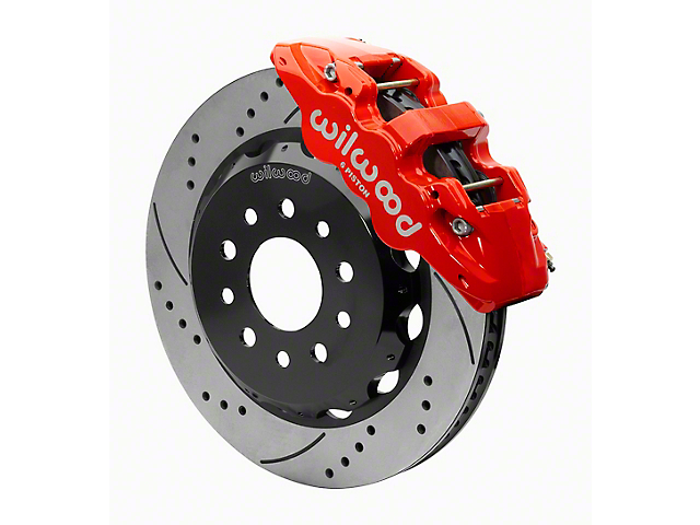 Wilwood AERO6 Front Big Brake Kit with 14-Inch Drilled and Slotted Rotors; Red Calipers (20-22 Jeep Gladiator JT)