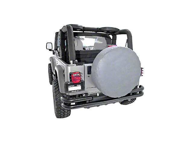 Rugged Ridge Spare Tire Cover - Gray - 27 to 29-Inch Tire Cover (87-20 Jeep Wrangler YJ, TJ, JK & JL)
