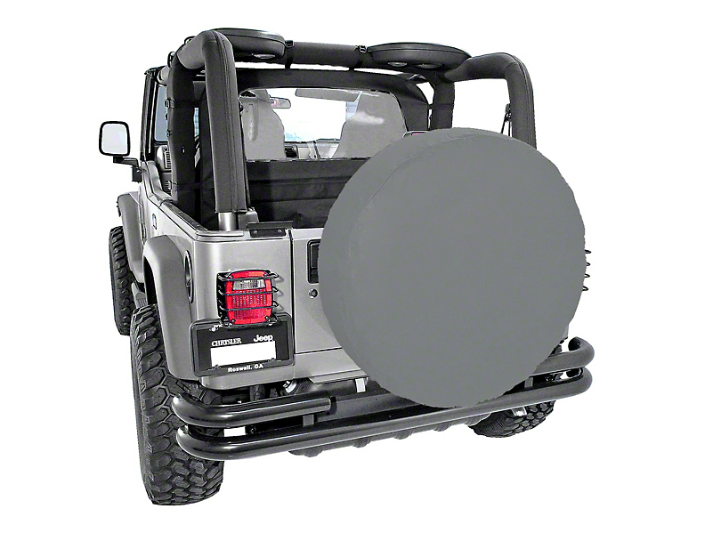 Rugged Ridge Spare Tire Cover; Gray; 30 to 32-Inch Tire Cover (87-20 Jeep Wrangler YJ, TJ, JK & JL)