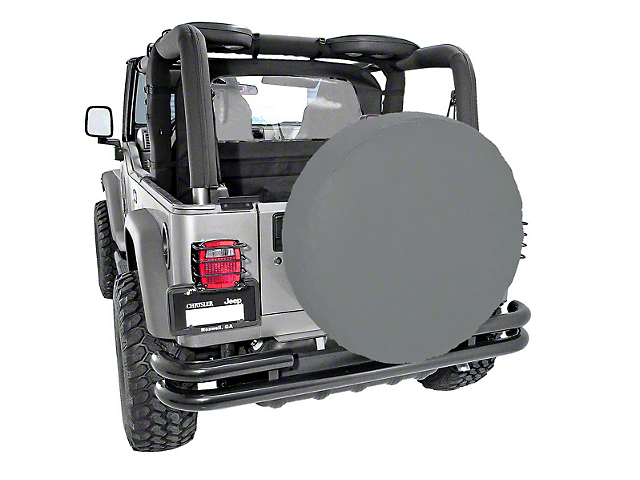 Rugged Ridge Spare Tire Cover; Gray; 30 to 32-Inch Tire Cover (87-21 Jeep Wrangler YJ, TJ, JK & JL)