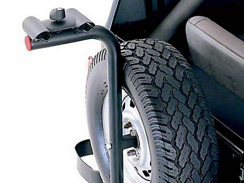 Rugged Ridge Spare Tire Mount Bike Carrier w/ offset of 2.63 in. - 6 in. (87-02 Wrangler YJ & TJ)