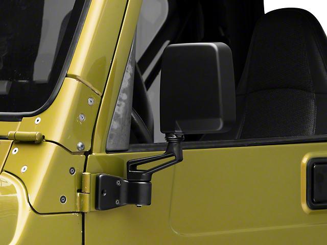 87-02 Style Mirrors; Black (87-06 Jeep Wrangler YJ & TJ)