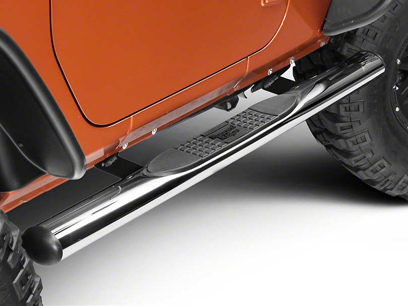 Rugged Ridge 4 in. Oval Nerf Bars - Stainless Steel (07-18 Jeep Wrangler JK 2 Door)