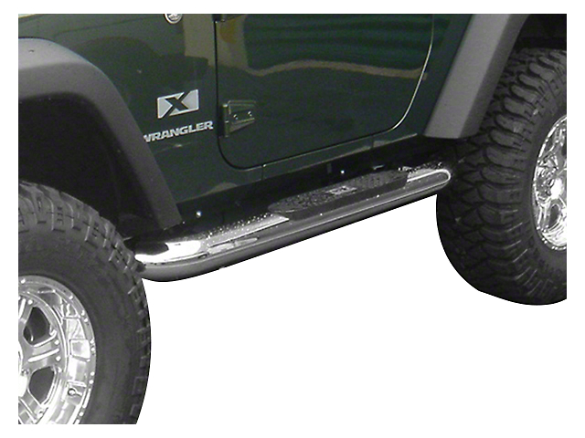 Rugged Ridge 4-Inch Round Nerf Side Step Bars; Stainless Steel (07-18 Jeep Wrangler JK 2 Door)