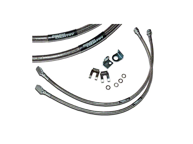 Rough Country Front Stainless Steel Brakelines for 4-6 in. Lift (87-06 Jeep Wrangler YJ & TJ)
