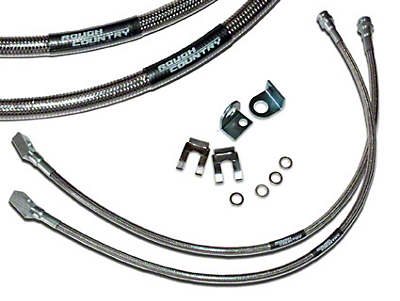 Rough Country Front Stainless Steel Brakelines for 4-6 in. Lift (87-06 Wrangler YJ & TJ)