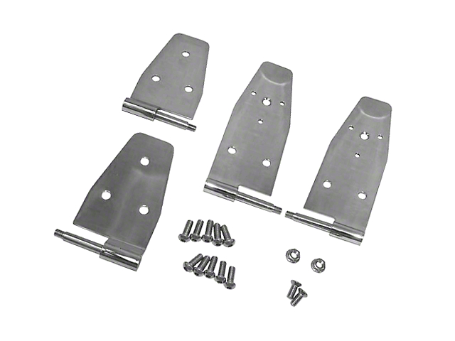 Rugged Ridge Door Hinges; Stainless Steel (94-95 Jeep Wrangler YJ)