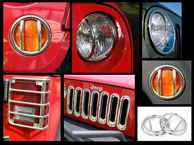 Rugged Ridge 19 Piece Stainless Steel Euro Guard Light Kit w/ Fog Light Guards (07-17 Wrangler JK)