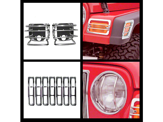 Rugged Ridge Stainless Steel 15 pc Euro Guard Light Kit (97-06 Wrangler TJ)