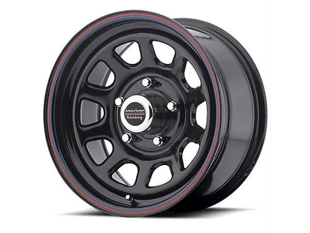 American Racing AR767 Gloss Black with Stripes Wheel; 15x8 (76-86 Jeep CJ5 & CJ7)