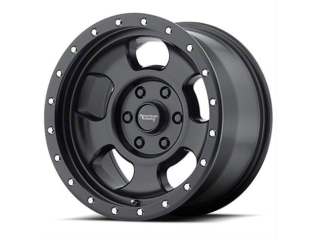 American Racing AR969 Ansen Offroad Satin Black with Satin Black Ring Wheel; 15x8 (76-86 Jeep CJ5 & CJ7)