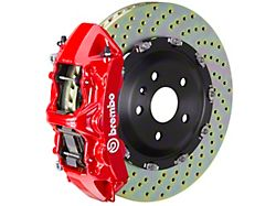 Brembo GT Series 6-Piston Front Big Brake Kit with 14.40-Inch 2-Piece Cross Drilled Rotors; Red Calipers (07-18 Jeep Wrangler JK)