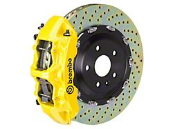 Brembo GT Series 6-Piston Front Big Brake Kit with 15-Inch 2-Piece Cross Drilled Rotors; Yellow Calipers (07-18 Jeep Wrangler JK)