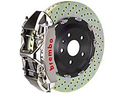 Brembo GT Series 6-Piston Front Big Brake Kit with 15-Inch 2-Piece Cross Drilled Rotors; Nickel Plated Calipers (07-18 Jeep Wrangler JK)