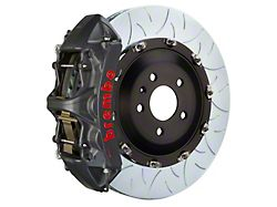 Brembo GT-S Series 6-Piston Front Big Brake Kit with 15-Inch 2-Piece Type 3 Slotted Rotors; Black Hard Anodized Calipers (07-18 Jeep Wrangler JK)