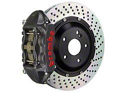 Brembo GT-S Series 4-Piston Rear Big Brake Kit with 15-Inch 2-Piece Cross Drilled Rotors; Black Hard Anodized Calipers (07-18 Jeep Wrangler JK)