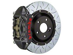 Brembo GT-S Series 4-Piston Rear Big Brake Kit with 15-Inch 2-Piece Type 3 Slotted Rotors; Black Hard Anodized Calipers (07-18 Jeep Wrangler JK)