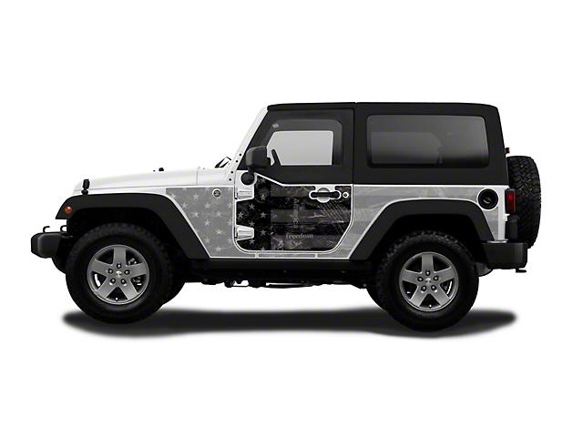 Mek Magnet Magnetic Half Door Body Armor; Black Flag (07-18 Jeep Wrangler JK 2-Door)