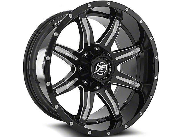 XF Offroad XF-215 Gloss Black Milled Wheel; 24x12 (76-86 Jeep CJ5 & CJ7)