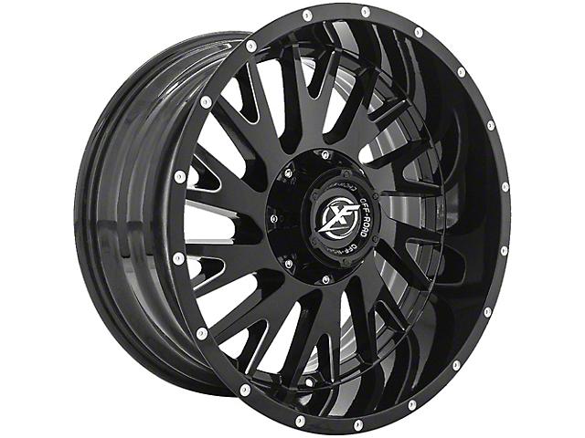 XF Offroad XF-221 Gloss Black Milled Wheel; 20x10 (76-86 Jeep CJ5 & CJ7)