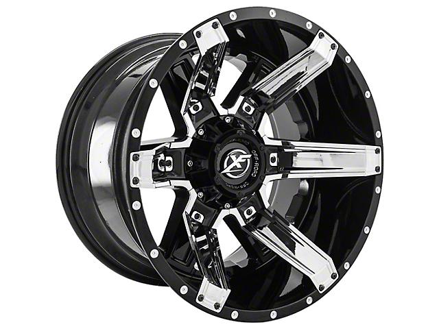XF Offroad XF-214 Gloss Black with Chrome Inserts Wheel; 22x12 (07-18 Jeep Wrangler JK)