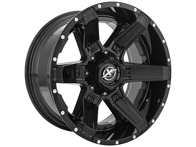 XF Offroad XF-214 Gloss Black with Gloss Black Inserts Wheel; 22x12 (18-21 Jeep Wrangler JL)