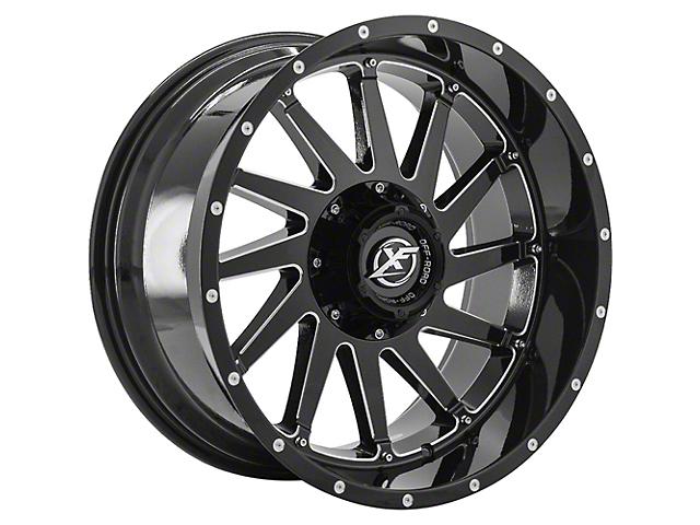 XF Offroad XF-216 Gloss Black Milled Wheel; 20x12 (18-21 Jeep Wrangler JL)