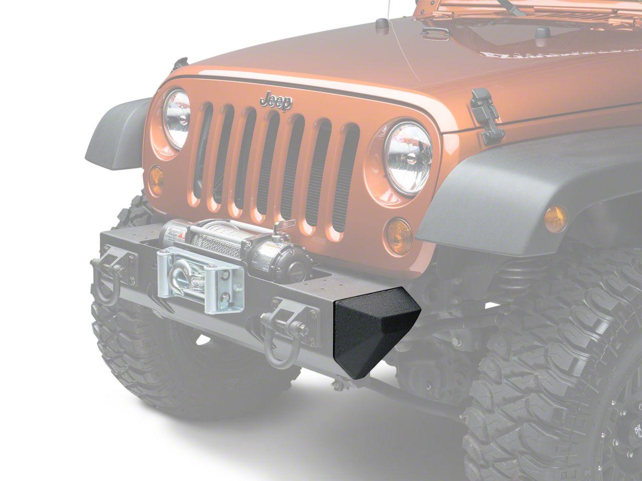 Add Rugged Ridge Bumper Ends for XHD Front Bumper - Textured Black (07-17 Wrangler JK)