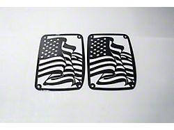 Tail Light Cover; Flag; Black (07-18 Jeep Wrangler JK)