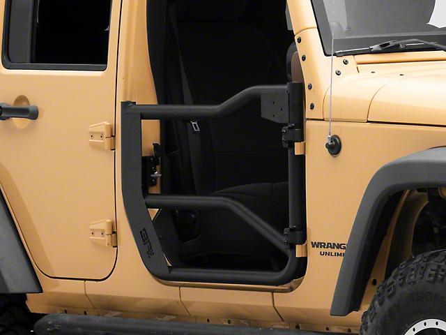 Body Armor 4x4 Front Tube Doors; Textured Black (07-18 Jeep Wrangler JK)
