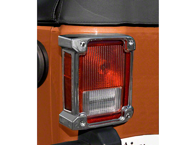 Rugged Ridge Tail Light Covers; Chrome (07-18 Jeep Wrangler JK)
