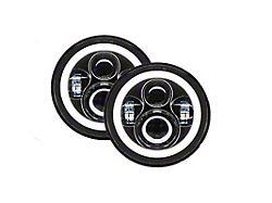 Quake LED Tempest 7-Inch Headlights with HD RGB Accent; Black Housing; Clear Lens (76-86 Jeep CJ5 & CJ7; 97-18 Jeep Wrangler TJ & JK)