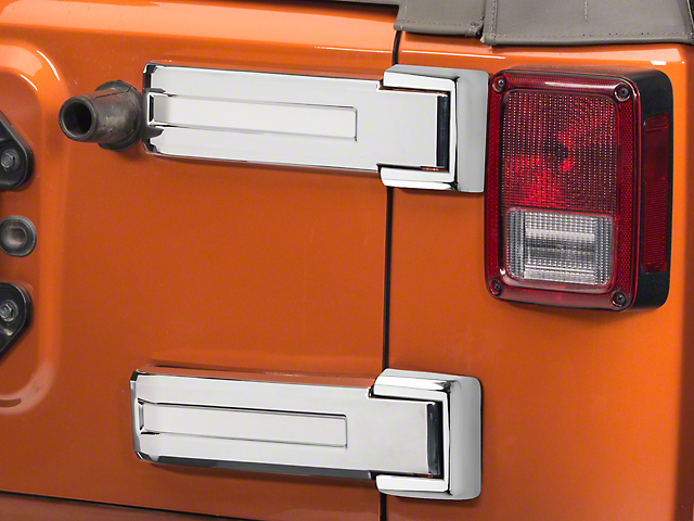 Rugged Ridge Tailgate Hinge Covers; Chrome (07-18 Jeep Wrangler JK)