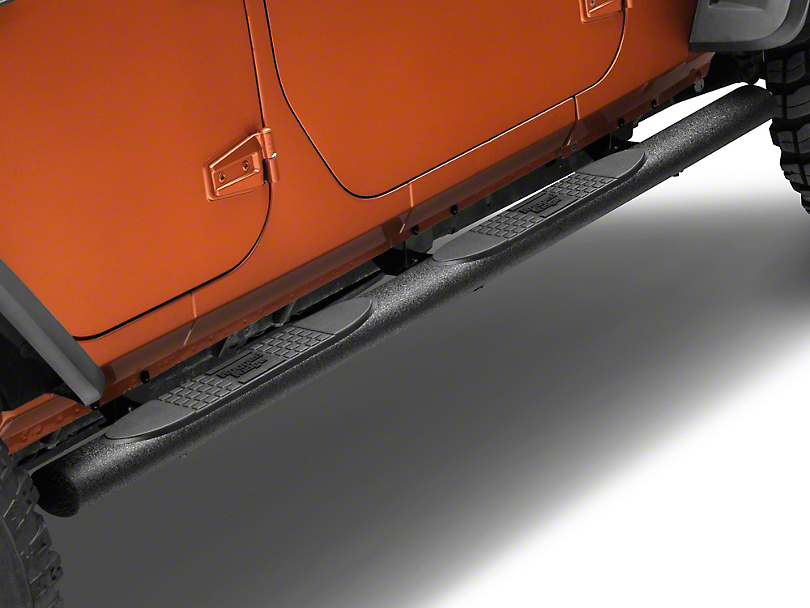 Rugged Ridge Textured Black 4 in. Oval Nerf Bars (07-18 Wrangler JK 4 Door)
